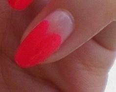 Neon Heart Nail Art Almond Nails